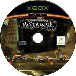 Artwork on the CD for Need for Speed: Most Wanted on the Microsoft Xbox.