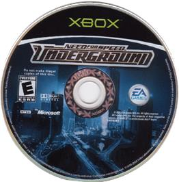 Artwork on the CD for Need for Speed Underground on the Microsoft Xbox.