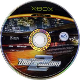 Artwork on the CD for Need for Speed Underground 2 on the Microsoft Xbox.