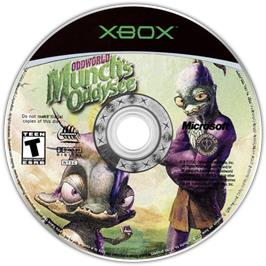 Artwork on the CD for Oddworld: Munch's Oddysee on the Microsoft Xbox.
