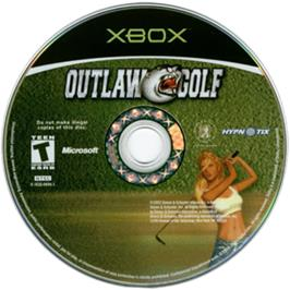 Artwork on the CD for Outlaw Golf: Holiday Golf on the Microsoft Xbox.