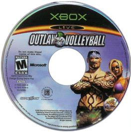 Artwork on the CD for Outlaw Volleyball on the Microsoft Xbox.