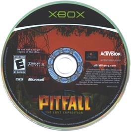 Artwork on the CD for Pitfall: The Lost Expedition on the Microsoft Xbox.