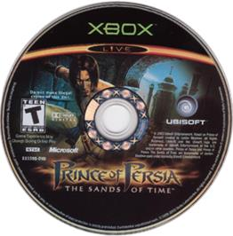 Artwork on the CD for Prince of Persia: The Sands of Time on the Microsoft Xbox.