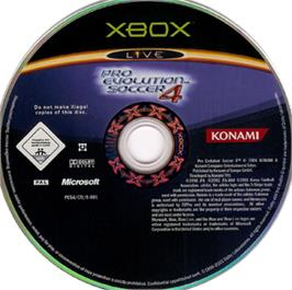 Artwork on the CD for Pro Evolution Soccer 4 on the Microsoft Xbox.