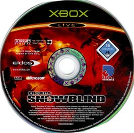 Artwork on the CD for Project: Snowblind on the Microsoft Xbox.