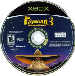Artwork on the CD for Rayman 3: Hoodlum Havoc on the Microsoft Xbox.