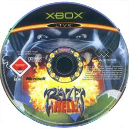Artwork on the CD for Raze's Hell on the Microsoft Xbox.