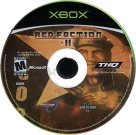 Artwork on the CD for Red Faction 2 on the Microsoft Xbox.