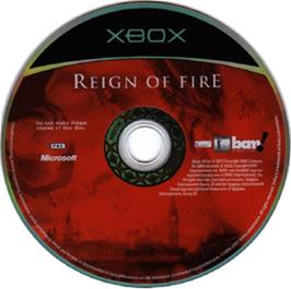 Artwork on the CD for Reign of Fire on the Microsoft Xbox.
