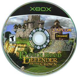 Artwork on the CD for Robin Hood: Defender of the Crown on the Microsoft Xbox.
