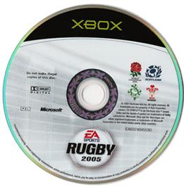 Artwork on the CD for Rugby 2005 on the Microsoft Xbox.