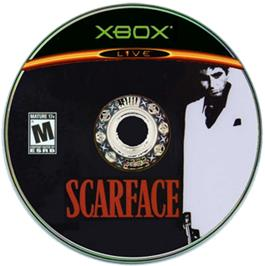 Artwork on the CD for Scarface: The World is Yours on the Microsoft Xbox.