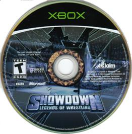 Artwork on the CD for Showdown: Legends of Wrestling on the Microsoft Xbox.