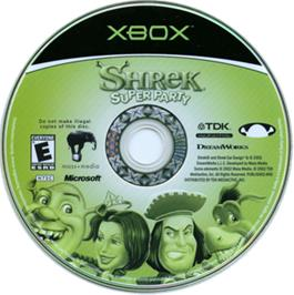 Artwork on the CD for Shrek Super Party on the Microsoft Xbox.