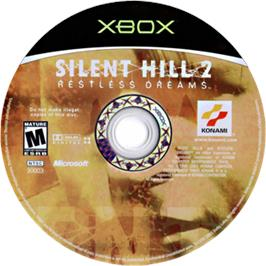 Artwork on the CD for Silent Hill 2: Restless Dreams on the Microsoft Xbox.