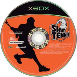 Artwork on the CD for Slam Tennis on the Microsoft Xbox.