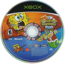 Artwork on the CD for SpongeBob SquarePants: The Movie on the Microsoft Xbox.