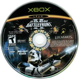 Artwork on the CD for Star Wars: Battlefront 2 on the Microsoft Xbox.
