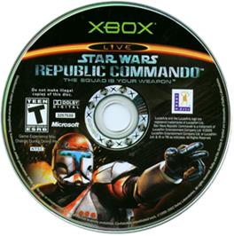 Artwork on the CD for Star Wars: Republic Commando on the Microsoft Xbox.