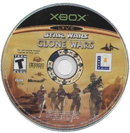 Artwork on the CD for Star Wars: The Clone Wars on the Microsoft Xbox.