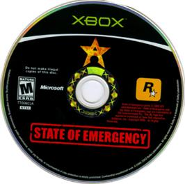 Artwork on the CD for State of Emergency on the Microsoft Xbox.