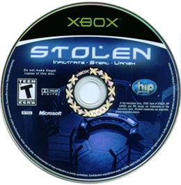 Artwork on the CD for Stolen on the Microsoft Xbox.