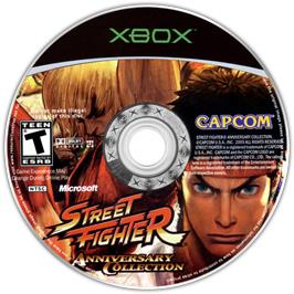 Artwork on the CD for Street Fighter: Anniversary Collection on the Microsoft Xbox.