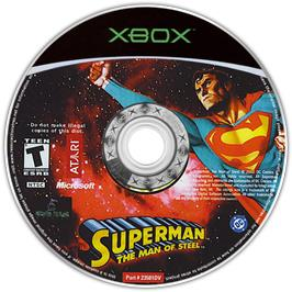 Artwork on the CD for Superman: The Man of Steel on the Microsoft Xbox.