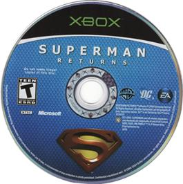 Artwork on the CD for Superman Returns on the Microsoft Xbox.