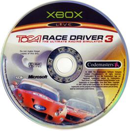 Artwork on the CD for TOCA Race Driver 3 on the Microsoft Xbox.