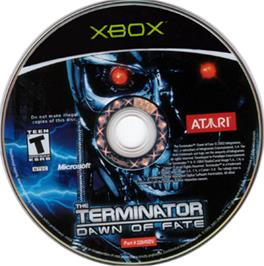Artwork on the CD for Terminator: Dawn of Fate on the Microsoft Xbox.