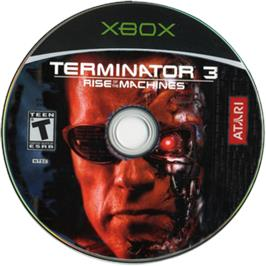 Artwork on the CD for Terminator 3: Rise of the Machines on the Microsoft Xbox.