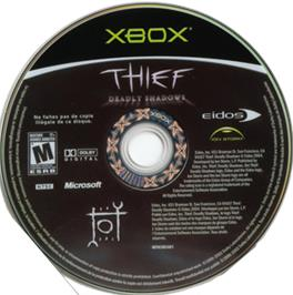 Artwork on the CD for Thief: Deadly Shadows on the Microsoft Xbox.