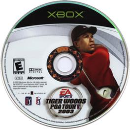 Artwork on the CD for Tiger Woods PGA Tour 2003 on the Microsoft Xbox.