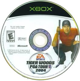 Artwork on the CD for Tiger Woods PGA Tour 2004 on the Microsoft Xbox.