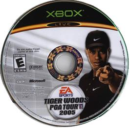 Artwork on the CD for Tiger Woods PGA Tour 2005 on the Microsoft Xbox.