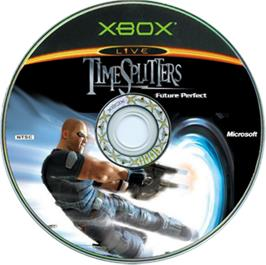 Artwork on the CD for TimeSplitters: Future Perfect on the Microsoft Xbox.