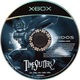 Artwork on the CD for TimeSplitters 2 on the Microsoft Xbox.