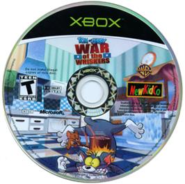 Artwork on the CD for Tom and Jerry: War of the Whiskers on the Microsoft Xbox.