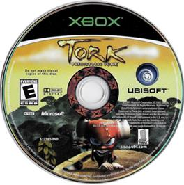 Artwork on the CD for Tork: Prehistoric Punk on the Microsoft Xbox.