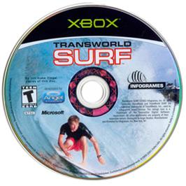 Artwork on the CD for TransWorld SURF on the Microsoft Xbox.