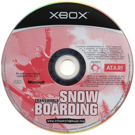 Artwork on the CD for TransWorld Snowboarding on the Microsoft Xbox.