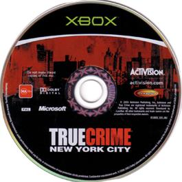 Artwork on the CD for True Crime: New York City on the Microsoft Xbox.