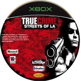 Artwork on the CD for True Crime: Streets of LA on the Microsoft Xbox.