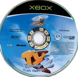 Artwork on the CD for Ty the Tasmanian Tiger 2: Bush Rescue on the Microsoft Xbox.