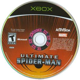 Artwork on the CD for Ultimate Spider-Man on the Microsoft Xbox.