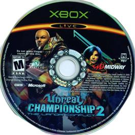 Artwork on the CD for Unreal Championship 2: The Liandri Conflict on the Microsoft Xbox.