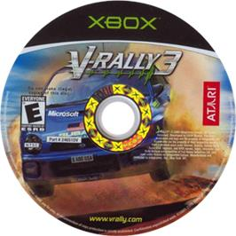Artwork on the CD for V-Rally 3 on the Microsoft Xbox.