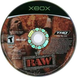 Artwork on the CD for WWF Raw on the Microsoft Xbox.